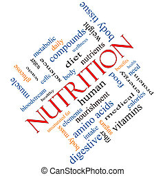 Nutrition Word Cloud Concept Angled
