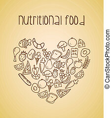nutritional, food over cream background vector illustration