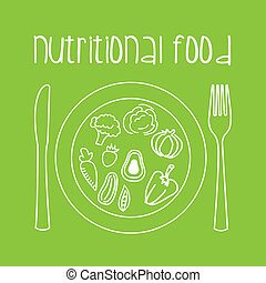 nutritional food over green background vector illustration