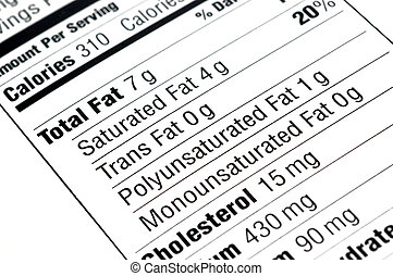 Nutritional Label - close up of a nutritional label centered...