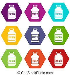 Nutritional supplement for athletes icon set color...