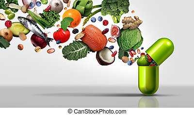 Nutritional supplement and vitamin supplements as a capsule with fruit vegetables nuts and beans inside a nutrient pill as a natural medicine health treatment with 3D illustration elements.