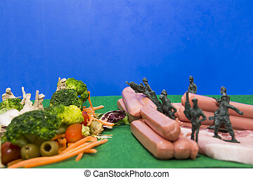 Nutritional war. The army of vegetables against the army of...