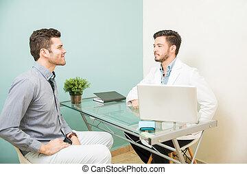 nutritionist, 的談話, a, 病人