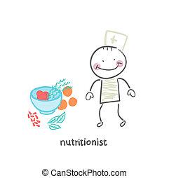 nutritionist, 站立, 在旁邊, a, 蔬菜的碗
