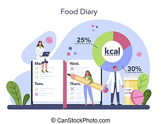 Nutritionist concept. Nutrition therapy with food diary. Weight loss