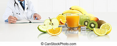 Nutritionist doctor reading the medical book, prescription and search for a balanced diet on a desk with fruits, web banner and copy space template