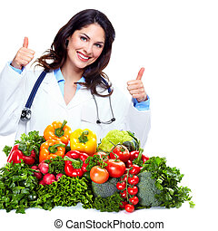 Nutritionist doctor woman isolated over white background