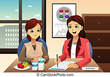 A vector illustration of nutritionist explaining about diet to an overweight woman