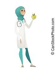 nutritionist, frisk, offer, rød, apple.