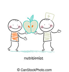 nutritionist gives the patient an apple