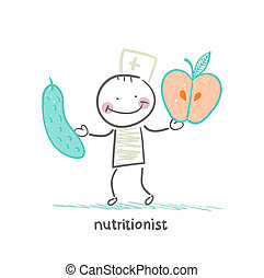 nutritionist holding cucumber and apple