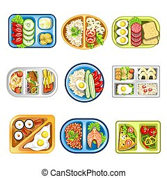 Nutritious complex lunches in convenient plastic trays set -...