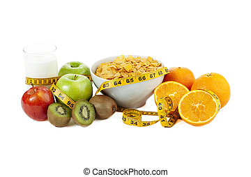 nutritious foods and drink - Glass of milk, cereals, apples...