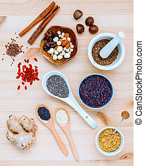 Nutritious Foods and Super foods selection with supplement powders