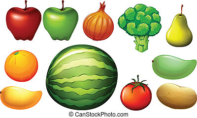 lllustration of the nutritious foods on a white background