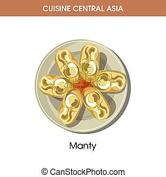 Nutritious Manty on plate from Central Asian cuisine...