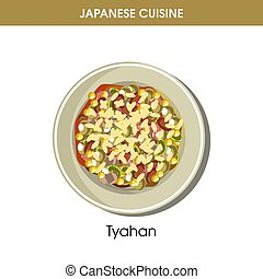 Nutritious oriental Tyahan on plate from Japanese cuisine