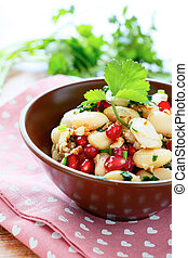 nutritious salad with beans and cilantro