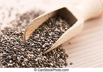 nutritivo, chia, sementes, ligado, um, colher madeira