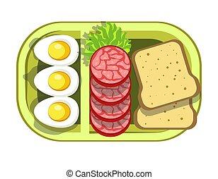 nutritivo, contenedor, conveniente, plástico, almuerzo,...