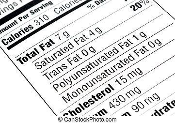 nutritivo, etichetta