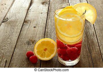 nutritivo, limón, frambuesas, contra, agua, vidrio, fruta, madera, Plano de fondo