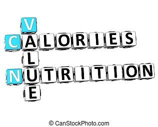 nutrizione, 3d, calorie, valore, cruciverba