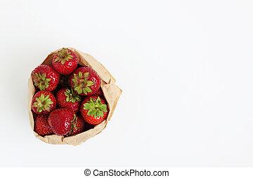 nutrizione, concetto, borsa, sano, isolato, fondo., carta, fragole fresche, bianco