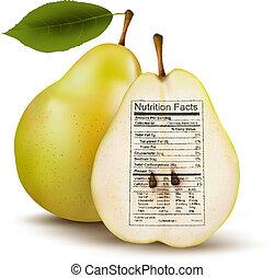 nutrizione, concetto, label., sano, pera, cibo., vector., fatti