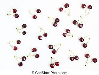 nutrizione, concetto, sano, ciliegia, sparso, fondo., fresco, bianco, bacche