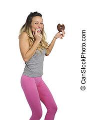 nutrizione, donna mangia, malsano, colpevole, giovane, cioccolato, donut, birichino, sexy, felice