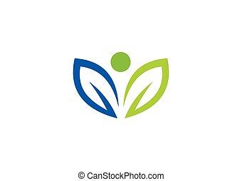 nutrizione, foglia, astratto, vettore, logotipo, organico