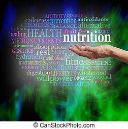 nutrizione, palma, tuo, mano
