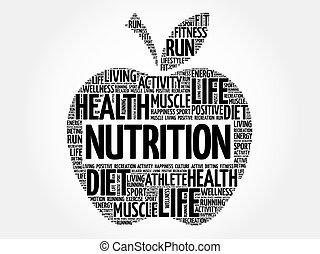 nutrizione, parola, mela, nuvola