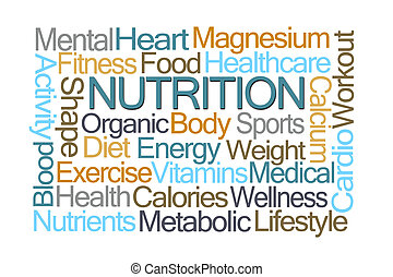 nutrizione, parola, nuvola