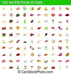 nutrizione, stile, icone, set, 100, cartone animato