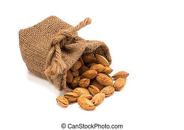 Nuts Almond in a wooden bowl isolated on white background.