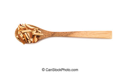 Nuts Almond in wooden spoon isolated on white background.