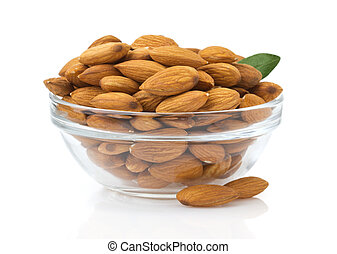 nuts almond on white background