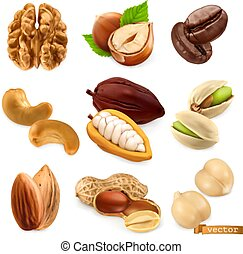 Nuts and beans. Walnut, hazelnut, coffee, cashew, cocoa, ...