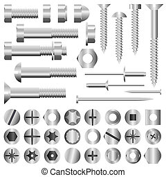 Nuts and bolts - Vector set of nuts, bolts, screws and...