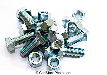 nuts and bolts isolated on white