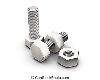 Nuts and bolts - 3D render of nuts and bolts
