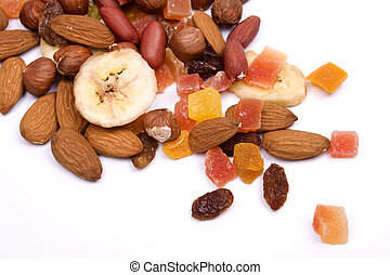 Nuts and dried fruit isolated on white