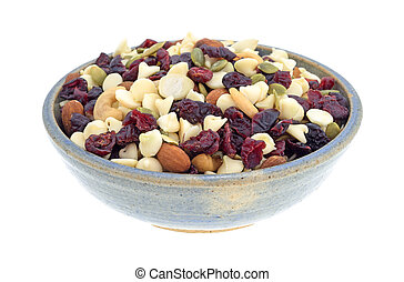Nuts and fruit trail mix in a bowl