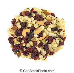 Nuts and fruit trail mix portion on a white background