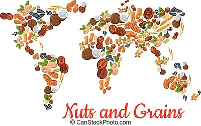 Nuts and grains in world map shape