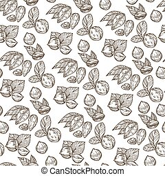 Healthy eating, nutrition and dieting seamless pattern of nuts and foliage. Plants with leaves, ingredient for desserts, dishes. Vegan or vegetarian dishes. Monochrome sketch outline, vector in flat