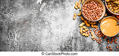 Nuts and peanut butter in a bowl.